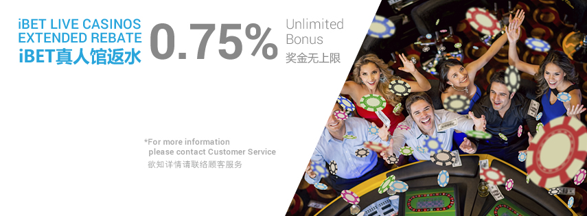 iBET Live Casinos Extended Rebate 0.75% Unlimited Bonus
